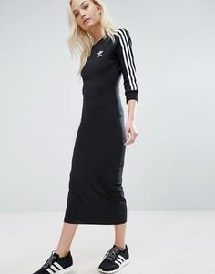 Черное платье миди с тремя полосками на рукавах Аdidas Originals - Черный Adidas