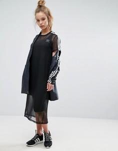 Черное платье миди с сетчатой накладкой adidas Originals - Черный