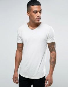 Выбеленная футболка с V-образным вырезом и необработанным краем Solid - Бежевый