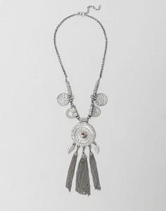 Ожерелье с монетами и бирюзовыми камнями Raga - Серебряный