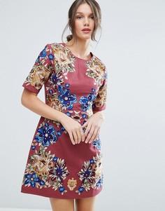 Цельнокройное платье мини с вышивкой ASOS Premium - Розовый