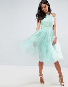 Короткое приталенное платье с открытыми плечами и отделкой Little Mistress - Синий