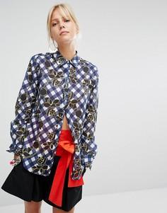 Рубашка в клеточку Sportmax Code Gioire - Синий