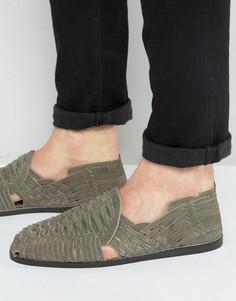 Плетеные сандалии из серой замши ASOS - Серый