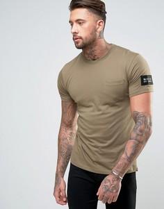 Зеленая футболка с нашивкой на рукаве Nicce London - Зеленый