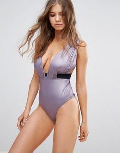 Атласный слитный купальник с драпировкой и глубоким вырезом ASOS FULLER BUST - Фиолетовый