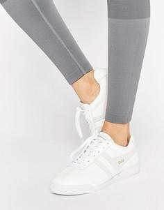 Белые кожаные кроссовки со вставками телесного цвета Gola Harrier - Мульти