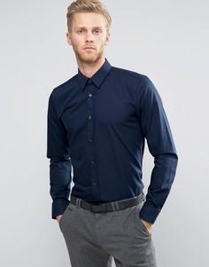 Узкая темно-синяя рубашка из поплина HUGO by Hugo Boss Elisha - Темно-синий
