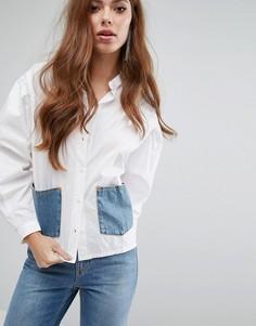 Свободная рубашка с джинсовыми карманами Diesel - Белый