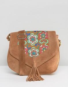 Замшевая сумка через плечо с вышивкой и кисточкой Park Lane - Рыжий