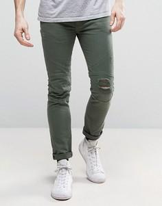 Байкерские джинсы с рваными коленями Religion - Зеленый