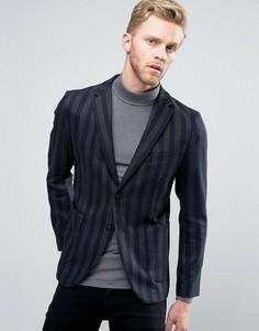 Узкий блейзер в полоску с накладными карманами Sisley - Темно-синий