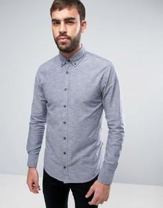Темно-синяя приталенная рубашка на пуговицах из 2-цветной ткани BOSS Orange by Hugo Boss - Темно-синий