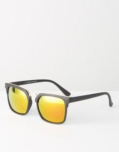 Квадратные солнцезащитные очки с зеркальными стеклами 7X - Черный