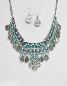 Ожерелье и серьги с монетками Ruby Rocks - Серебряный