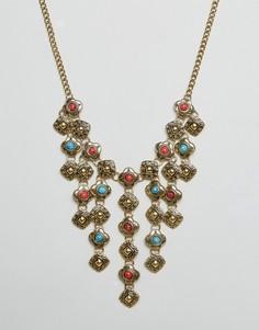 Ожерелье с броской подвеской Ruby Rocks - Золотой
