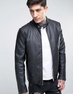 Черная байкерская куртка из искусственной кожи ASOS - Черный