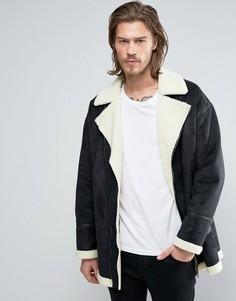 Черная байкерская куртка из искусственной овечьей шерсти ASOS - Черный