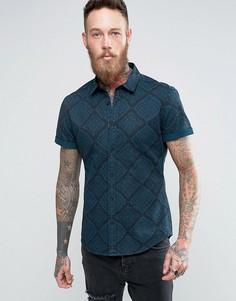 Джинсовая крашеная рубашка скинни с платочным принтом ASOS - Темно-синий