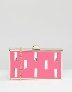 Клатч с отделкой прямоугольными камнями Liquorish - Розовый
