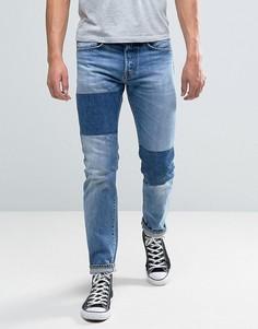 Суженные книзу джинсы с нашивками Edwin ED-80 - Синий