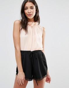 Рубашка со складками и высокой горловиной Traffic People - Розовый