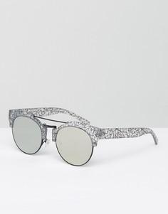 Круглые солнцезащитные очки с плоскими стеклами ASOS - Мульти