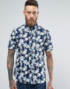 Классическая рубашка цвета индиго с пальмами Edwin - Темно-синий