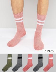 Набор из 5 пар меланжевых носков в спортивном стиле ASOS - Мульти
