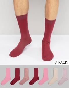 7 пар розовых носков ASOS - Розовый