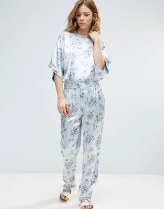 Атласные брюки с цветочным принтом Ganni Gold St. - Белый