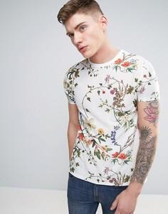 Фактурная футболка с цветочным принтом ASOS - Белый