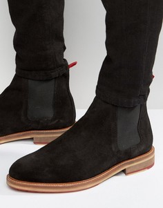Черные замшевые ботинки челси с красными петельками сзади ASOS - Черный