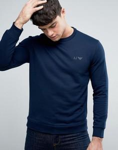 Темно-синий свитшот с круглым вырезом и логотипом Armani Jeans - Темно-синий