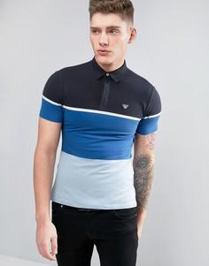 Узкое поло колор блок из ткани пике Armani Jeans - Синий