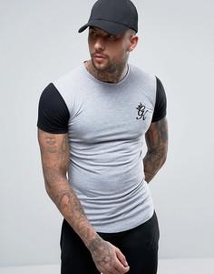 Обтягивающая футболка с контрастными рукавами и логотипом Gym King - Серый