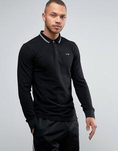 Черное поло узкого кроя из пике с длинными рукавами и контрастной отделкой Armani Jeans - Черный