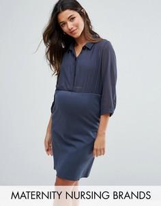 Платье-рубашка для кормления Mamalicious - Синий Mama.Licious