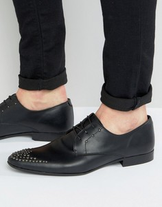Черные кожаные туфли на шнуровке с заклепками ASOS - Черный