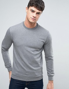 Серый меланжевый свитшот с круглым вырезом и логотипом Armani Jeans - Серый