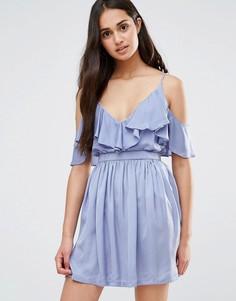 Платье с оборкой спереди Oh My Love - Фиолетовый