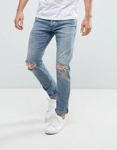 Голубые выбеленные узкие джинсы с прорехами на коленях Jack & Jones Intelligence - Синий