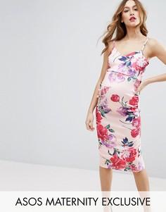 Платье миди в цветочек с лямками и глубоким вырезом ASOS Maternity - Мульти