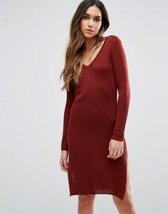 Платье миди с V-образным вырезом и длинными рукавами Vero Moda - Красный