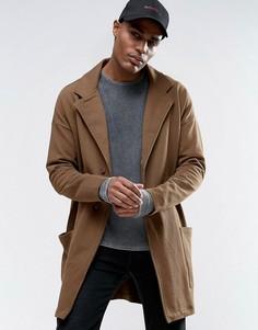 Супердлинное легкое трикотажное оversize-пальто цвета хаки ASOS - Зеленый