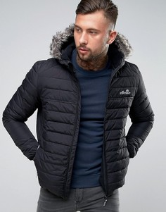 Дутая куртка с маленьким светоотражающим логотипом Ellesse - Черный