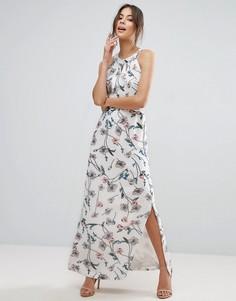 Платье макси с цветочным принтом и тонкими складочками на лифе Uttam Boutique - Белый