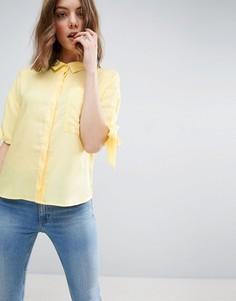 Свободная рубашка с завязками на рукавах ASOS - Желтый