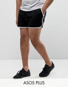 Короткие трикотажные шорты для бега ASOS PLUS - Черный