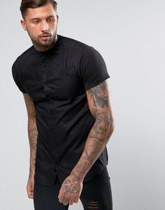 Рубашка скинни с трикотажными рукавами SikSilk - Черный